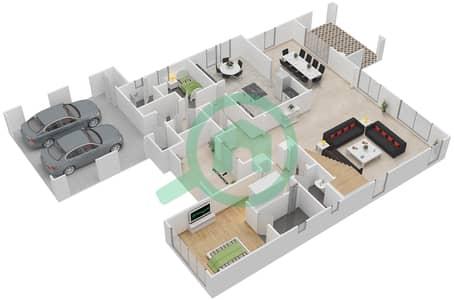 المخططات الطابقية لتصميم النموذج 2 فیلا 4 غرف نوم - ياسمين