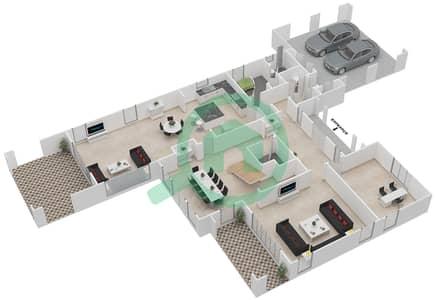 المخططات الطابقية لتصميم النموذج 3 فیلا 4 غرف نوم - ياسمين
