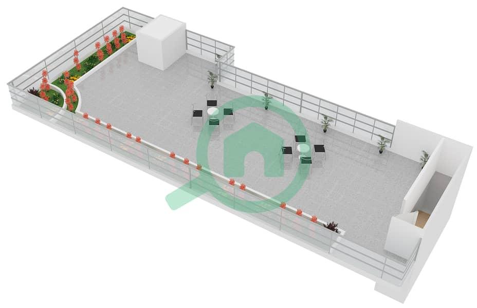 المخططات الطابقية لتصميم النموذج B4 FLOOR 5 شقة 2 غرفة نوم - الكوف Floor 5 Upper 3D
