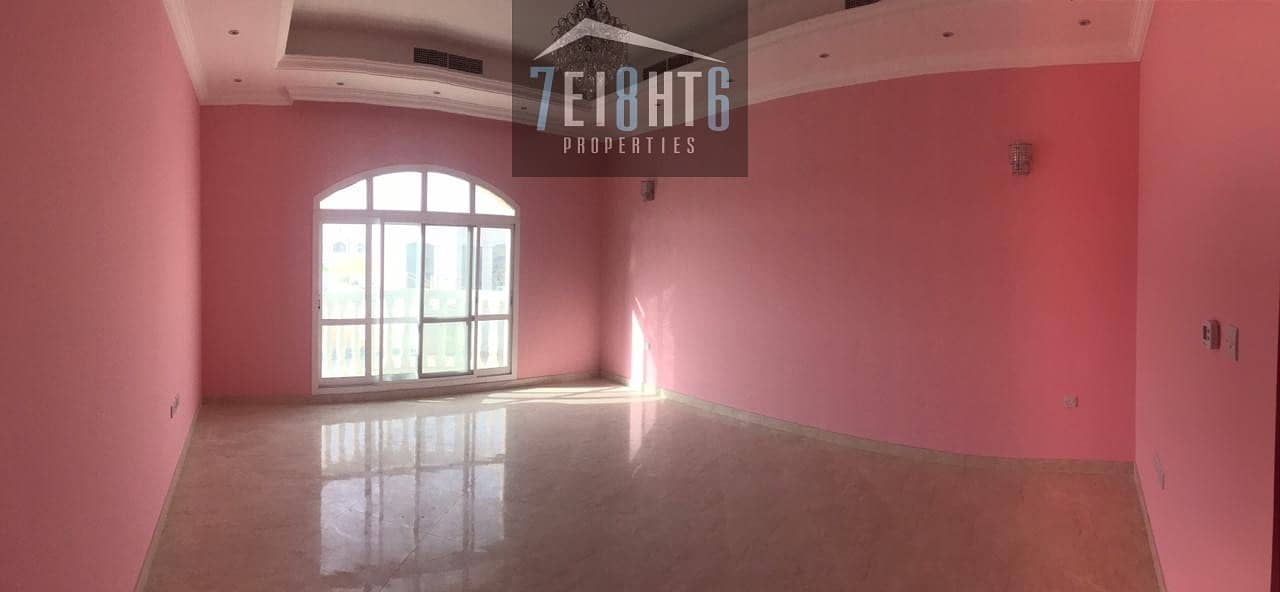 Brand new: 3 b/r semi-indep villa + maids room + beautiful landscaped garden for rent in Oud Al muteena 2