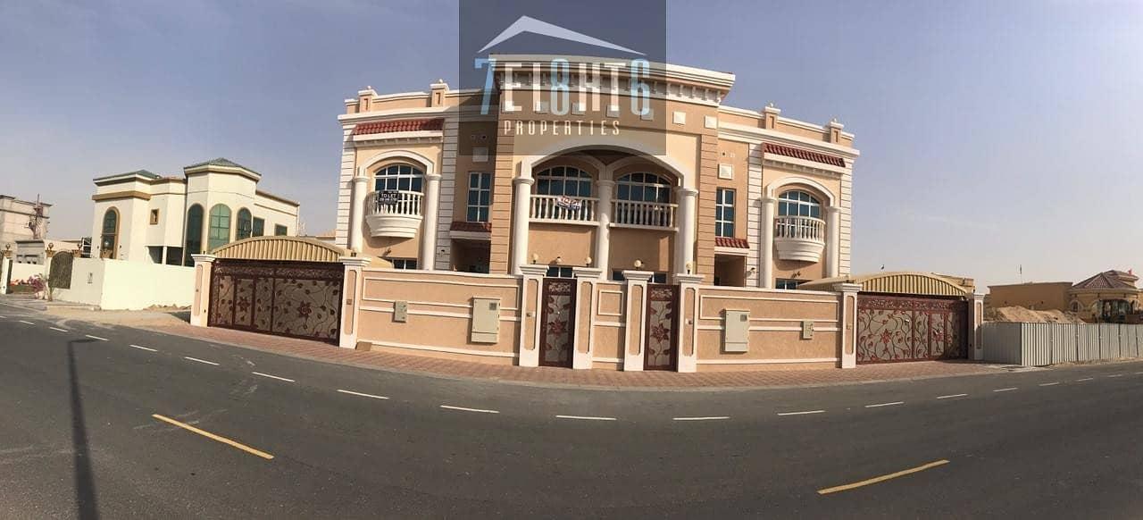 9 Brand new: 3 b/r semi-indep villa + maids room + beautiful landscaped garden for rent in Oud Al muteena 2