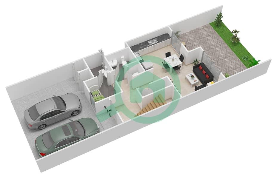 المخططات الطابقية لتصميم النموذج 1M تاون هاوس 3 غرف نوم - كاميليا Ground Floor image3D