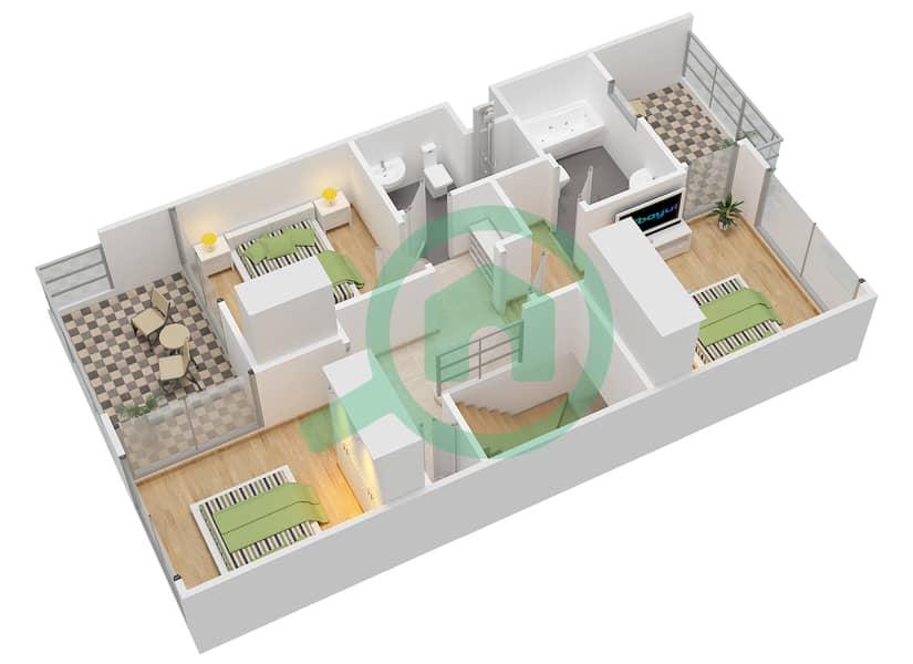المخططات الطابقية لتصميم النموذج 1M تاون هاوس 3 غرف نوم - كاميليا First Floor image3D