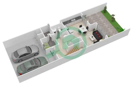 المخططات الطابقية لتصميم النموذج 2M تاون هاوس 3 غرف نوم - كاميليا