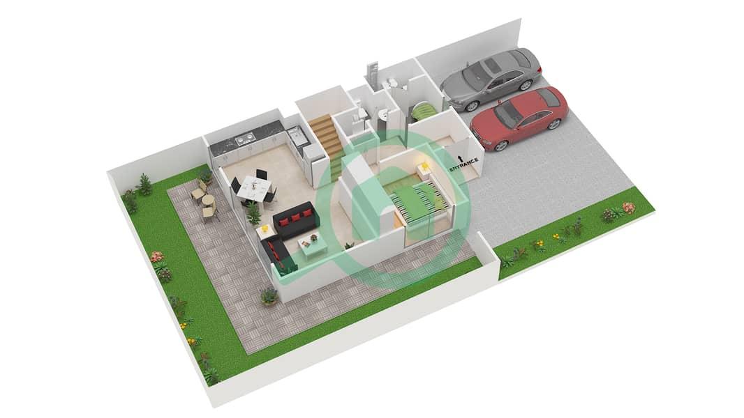 Camelia - 4 Bedroom Townhouse Type 1E Floor plan Ground Floor image3D