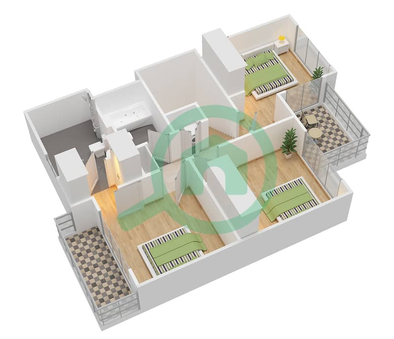 Camelia - 4 Bedroom Townhouse Type 1E Floor plan First Floor image3D