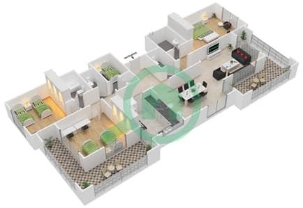 المخططات الطابقية لتصميم النموذج A-ANSAM 1 شقة 3 غرف نوم - أنسام