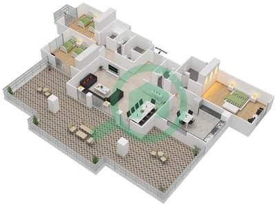 المخططات الطابقية لتصميم النموذج E-ANSAM 2,3 شقة 3 غرف نوم - أنسام
