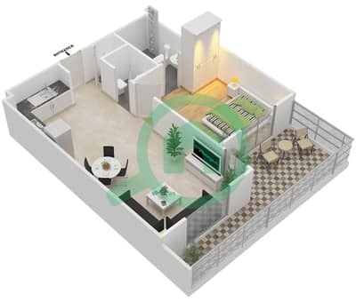 Remraam - 1 Bedroom Apartment Type 4A GROUND FLOOR Floor plan