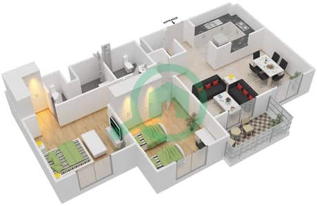 Remraam - 2 Bedroom Apartment Type 4 Floor plan
