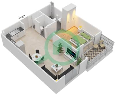 Remraam - 1 Bedroom Apartment Type 4 Floor plan