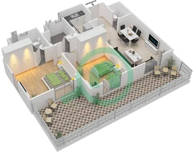 Remraam - 2 Bedroom Apartment Type 3A Floor plan