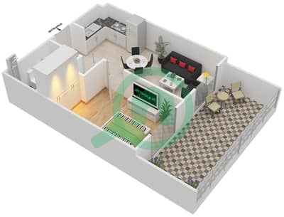 Remraam - 1 Bedroom Apartment Type 3A Floor plan
