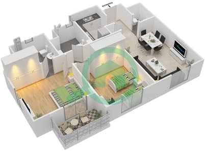 Remraam - 2 Bedroom Apartment Type 3 Floor plan