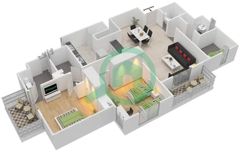 Remraam - 2 Bedroom Apartment Type 1 + MAID ROOM Floor plan