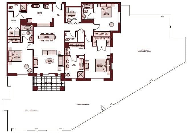 10 Three Bedrooms | Garden Apartment | VOT