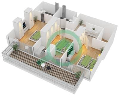 زايا هاميني - 3 غرف شقق اكتب Duplex A مخطط الطابق