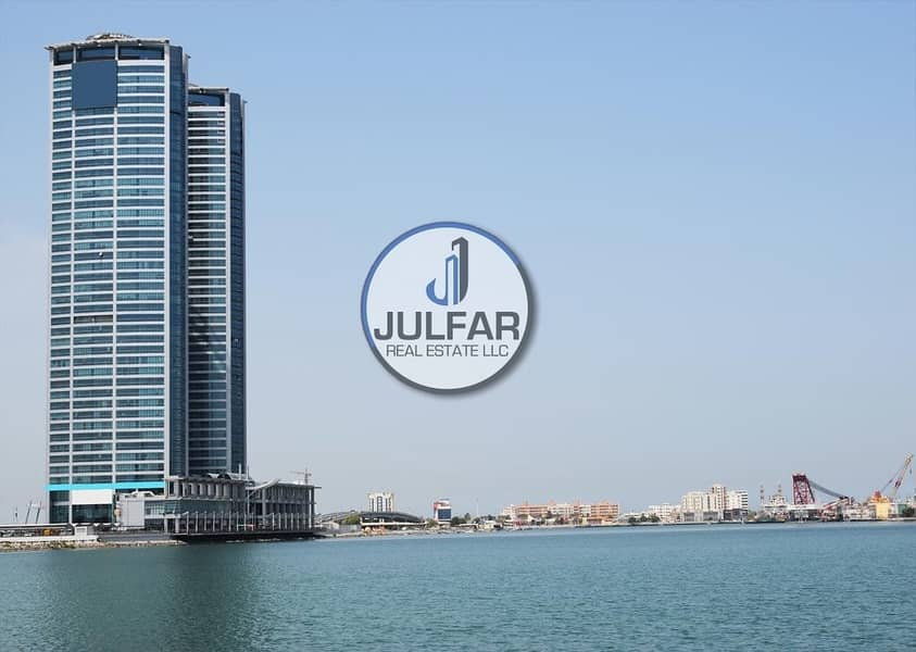 Glass Partitioned Sea View Office For Rent In Julphar Tower