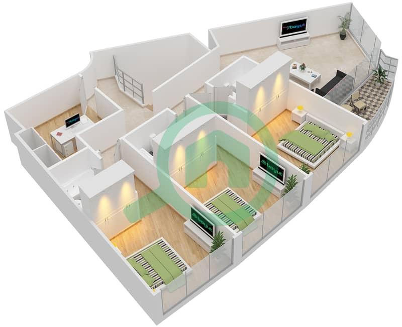 Bab Al Bahr - 4 Bedroom Apartment Type 4 Floor plan Upper floor image3D