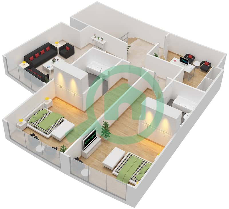 Bab Al Bahr - 3 Bedroom Apartment Type 2 Floor plan upper floor 3D