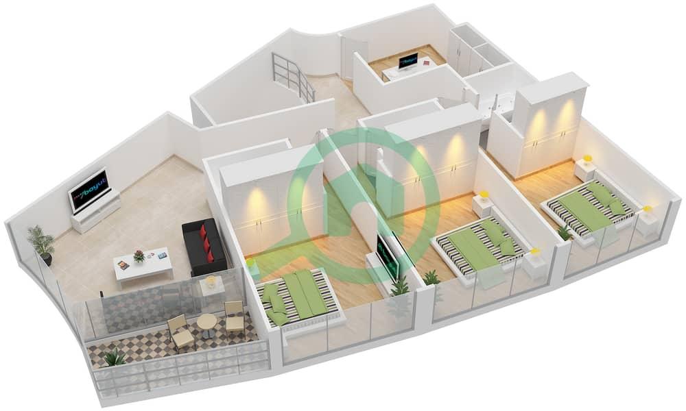 Bab Al Bahr - 4 Bedroom Apartment Type 3 Floor plan upper floor 3D