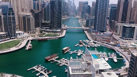 Dubai marina , 2 b/r with full marina view , 4 cheques ,chiller free , high floor , balcony