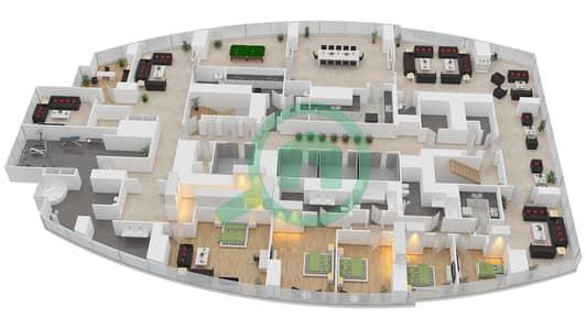 المخططات الطابقية لتصميم النموذج T2-SPHA بنتهاوس 5 غرف نوم - أبراج الإتحاد