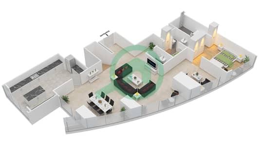 المخططات الطابقية لتصميم النموذج T2-PHA بنتهاوس 5 غرف نوم - أبراج الإتحاد
