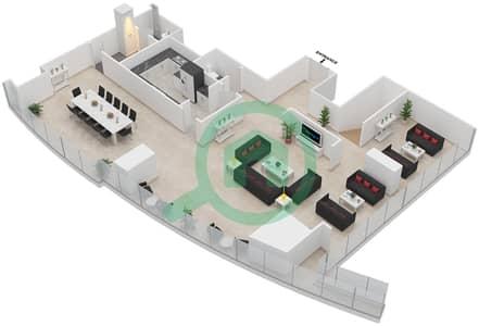 المخططات الطابقية لتصميم النموذج T2-PHB بنتهاوس 4 غرف نوم - أبراج الإتحاد