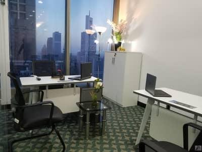 مکتب  للايجار في شارع الشيخ زايد، دبي - Burj Khalifa & Sea View Fully Furnished & Serviced Royal Office on Marvelous Location just 2 minutes walk from Metro