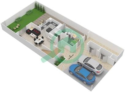 المخططات الطابقية لتصميم النموذج 2TH-E تاون هاوس 2 غرفة نوم - الغدیر