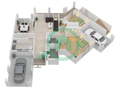 المخططات الطابقية لتصميم النموذج C فیلا 4 غرف نوم - فلل الواحة