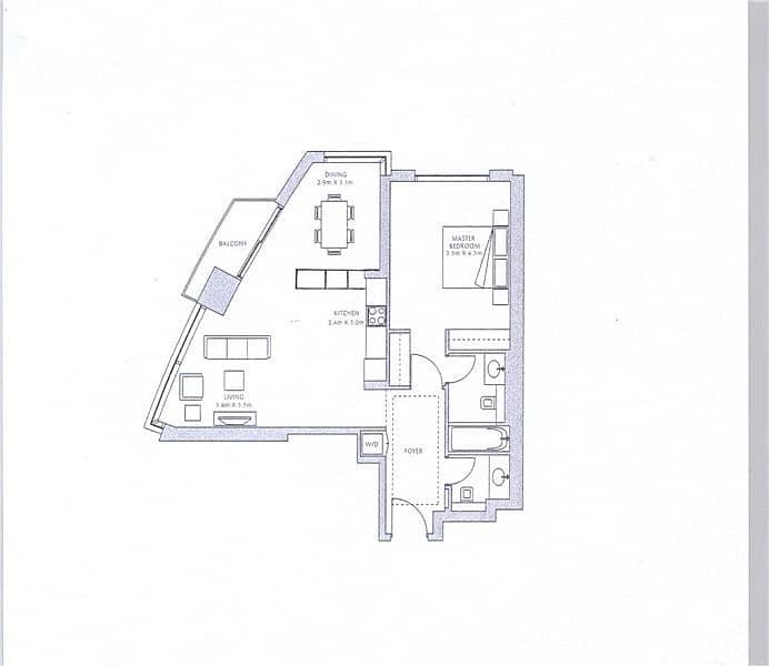 10 Upgraded Kitchen Layout | 1 Bed | Emaar