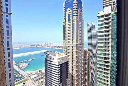 شقة 2 غرفة نوم للايجار في دبي مارينا، دبي - Full Sea View | High Floor | Unfurnished