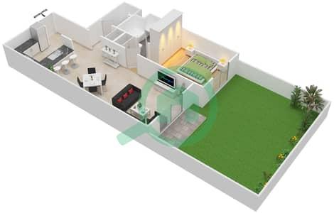 مساكن سنتوريون - 1 غرفة شقق نوع B Ground مخطط الطابق