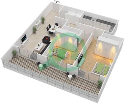 المخططات الطابقية لتصميم النموذج A شقة 2 غرفة نوم - برج قيصر