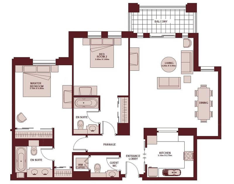 10 2 Bedroom   Fully Furnished   12 Cheques