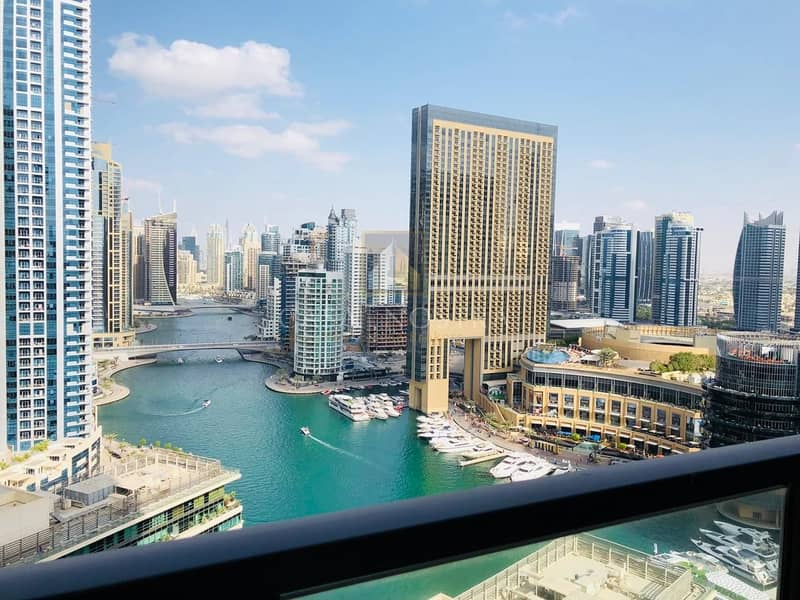Full Marina View Furnished 2BR on Higher Floor