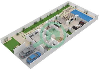 المخططات الطابقية لتصميم النموذج TH-H تاون هاوس 4 غرف نوم - ذا فيلد