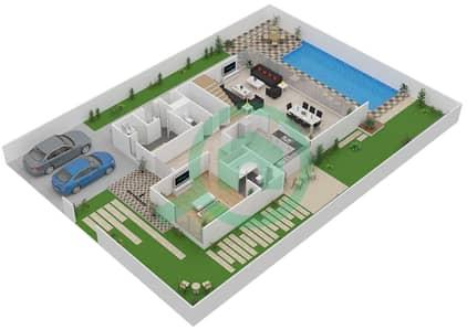 المخططات الطابقية لتصميم النموذج V-4 فیلا 5 غرف نوم - ذا فيلد