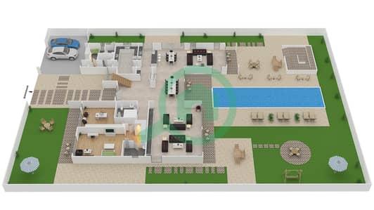 المخططات الطابقية لتصميم النموذج B3 MODERN فیلا 6 غرف نوم - باركوايز دبي هيلز