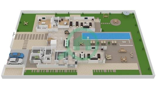 المخططات الطابقية لتصميم النموذج B4 MODERN فیلا 6 غرف نوم - باركوايز دبي هيلز