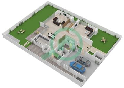 المخططات الطابقية لتصميم النموذج 1B فیلا 4 غرف نوم - وست ياس