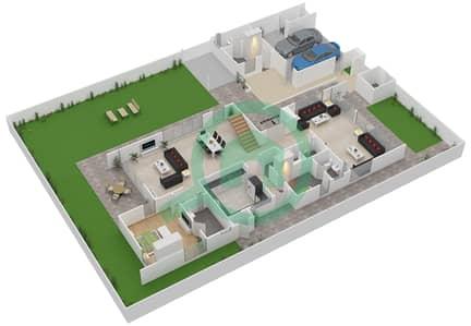 المخططات الطابقية لتصميم النموذج 2B فیلا 4 غرف نوم - وست ياس