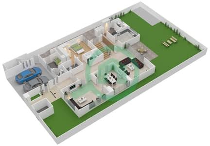 المخططات الطابقية لتصميم النموذج 3B فیلا 5 غرف نوم - وست ياس