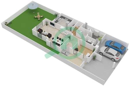 المخططات الطابقية لتصميم النموذج E تاون هاوس 3 غرف نوم - بحيرات السعديات