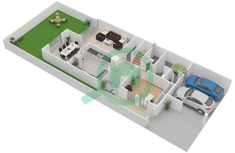 المخططات الطابقية لتصميم النموذج M تاون هاوس 4 غرف نوم - بحيرات السعديات