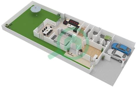 المخططات الطابقية لتصميم النموذج E تاون هاوس 4 غرف نوم - بحيرات السعديات