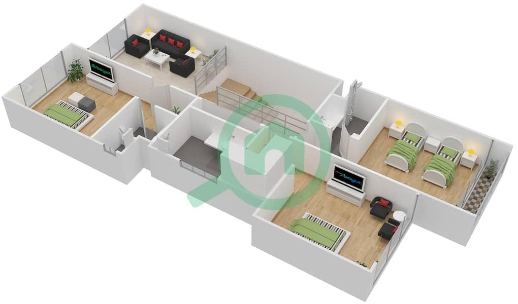 المخططات الطابقية لتصميم النموذج L تاون هاوس 3 غرف نوم - روكوود First Floor image3D