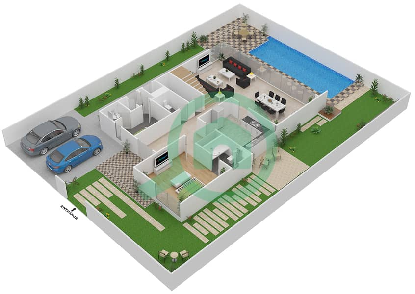 المخططات الطابقية لتصميم النموذج 4 فیلا 5 غرف نوم - روكوود Ground First image3D